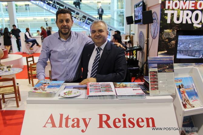 Türk Turizmine büyük katkıda bulunan Altay Reisen Zürich'in sahibi Turizmci Mehmet Göktaş (sağda); Ülkemizin ekonomik geleceği için uluslararası arenada yapılan fuarların öneminin büyüklüğüne değindi.